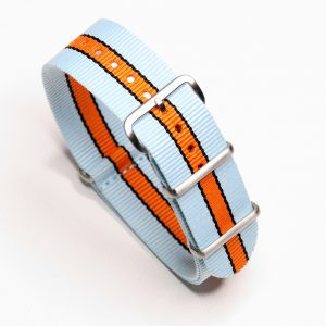 Gulf Racing Inspired Nylon Watch Strap for Vintage and Modern Wristwatch Chronograph automatic
