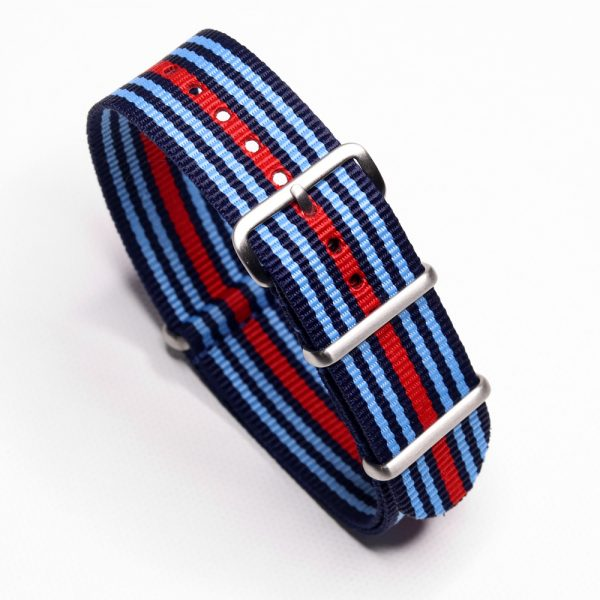 Martini Racing Inspired Nylon Watch Strap for Vintage and Modern Wristwatch Chronograph automatic