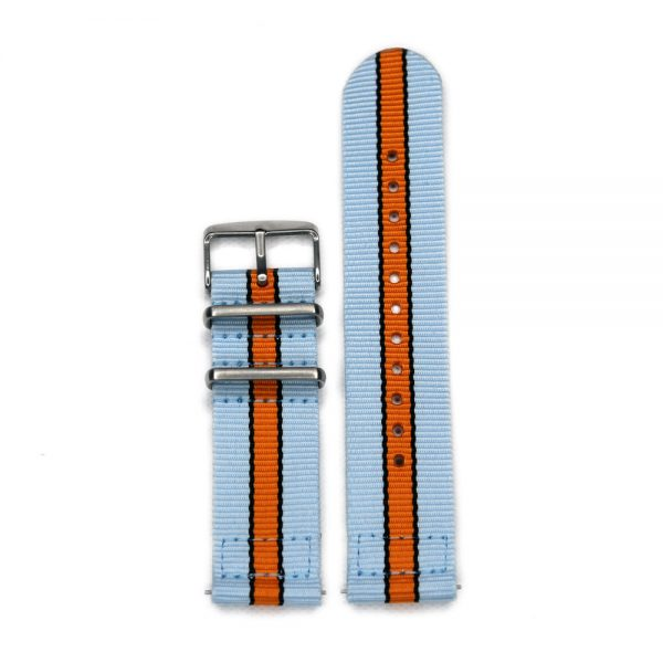 Durable two piece nylon smart watch Gulf Racing Inspired watch strap band ford lemans with stainless steel brushed hardware in 22mm