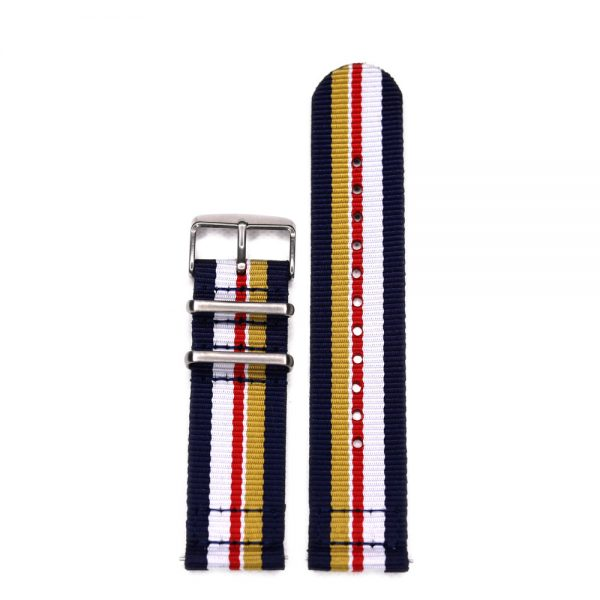 Durable two piece nylon smart watch Rothmans Inspired watch strap band porsche lemans with stainless steel brushed hardware in 22mm