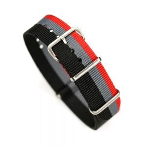 Durable one piece nylon Black Gray Red watch strap band audi nato with stainless steel brushed hardware in 20mm