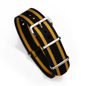 Durable one piece nylon Black Yellow Stripe watch strap band lotus john player nato with stainless steel brushed hardware in 20mm