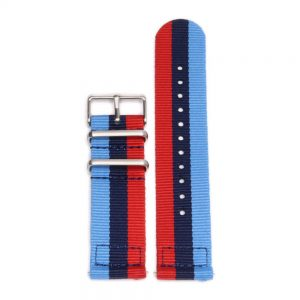 Durable two piece nylon smart watch Blue Violet Red watch strap band bmw mpower with stainless steel brushed hardware in 22mm