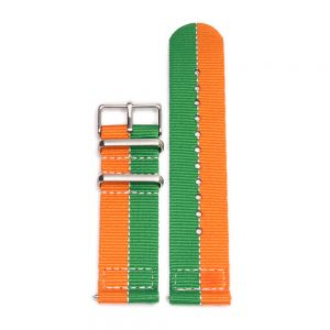 Durable two piece nylon smart watch Orange Green watch strap band mazda lemans 787b with stainless steel brushed hardware in 22mm