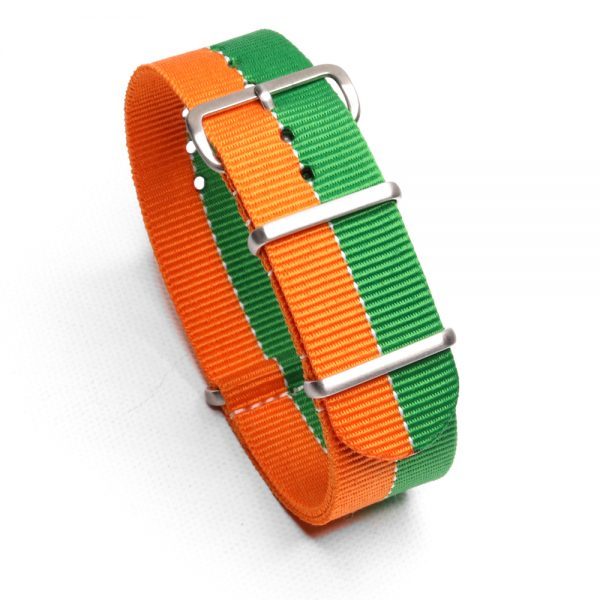 Durable one piece nylon Orange Green watch strap band nato Mazda racing lemans with stainless steel brushed hardware in 22mm