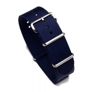 Durable one piece nylon Navy Blue watch strap band nato with stainless steel brushed hardware in 22mm 20mm