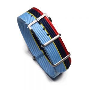 Durable one piece nylon Light Blue Navy Red and Yellow Stripe watch strap band nato Peugeot Inspired Rally with stainless steel brushed hardware in 20mm