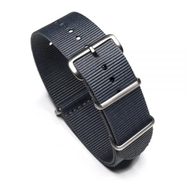 Durable one piece nylon Gray watch strap band nato with stainless steel brushed hardware in 22mm 20mm