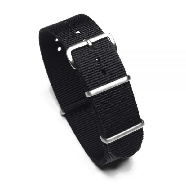 Durable one piece nylon Black watch strap band nato with stainless steel brushed hardware in 22mm 20mm