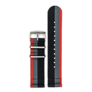 Durable two piece nylon smart watch Black Grey Red watch strap band Quatro Audi group-b vintage rallying with stainless steel brushed hardware in 22mm